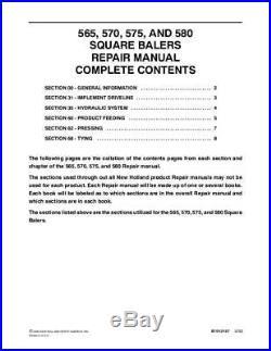 New Holland 565,570,575,580 Sq Baler Service Manual