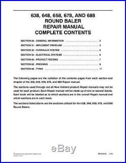 New Holland 638 648 658 678 688 Round Baler Service Manual