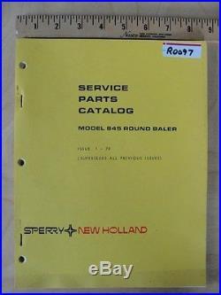 New Holland 845 Round Baler parts manual book catalog