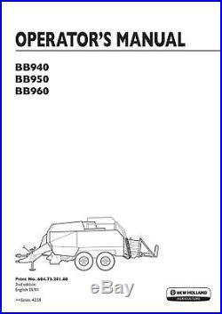New Holland BB940 BB960 Baler Operators Manual