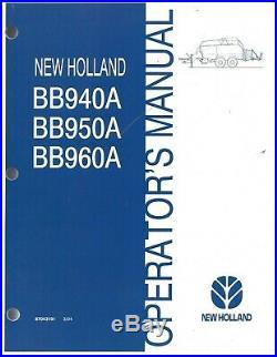 New Holland BB940A BB950A BB960A Square Baler Operator Manual 87043191