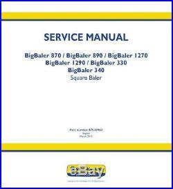 New Holland Bigbaler 330, 340, 870, 890, 1270, 1290 Square Baler Complete Serv