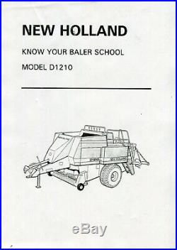 New Holland Know Your Baler School Model D1210 also covers D1010/D1010 silage