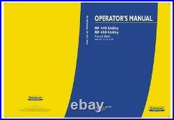 New Holland Rf 440 Utility Rf 450 Utility Round Baler Operator`s Manual