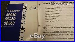 OEM New Holland BB940, BB950, BB960 BALER Repair & Operator's Manual 5 book Set