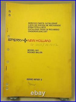 Sperry New Holland Model 841 Round Baler Parts List Ersatzteilliste in englisch